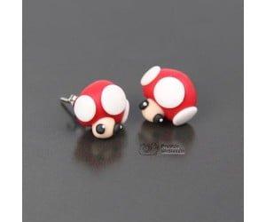 Super Mario Mushroom Toad Kinopio Earrings