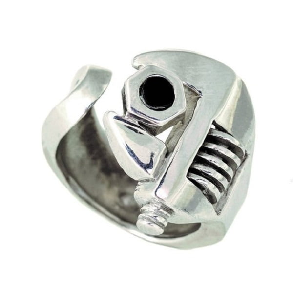 Rhodium Wrench Cool Ring