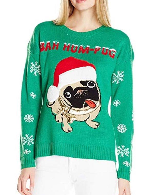 Bah Hum Pug Ugly Christmas Sweater