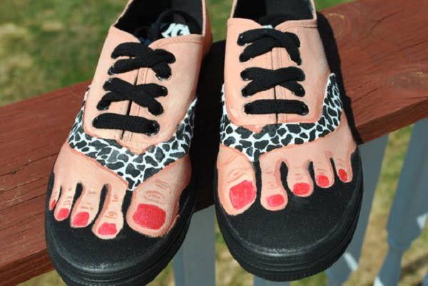 Handpainted Bare Feet Shoes