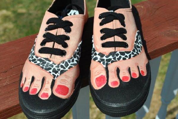 Handpainted Bare Feet Shoes