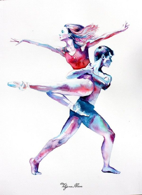 Cool Dancers Watercolor Painting