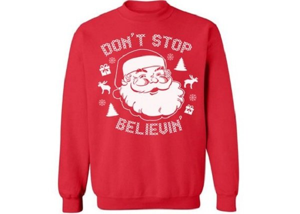 Don't Stop Believin' Funny Christmas Sweater