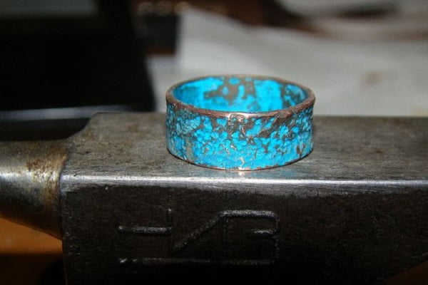 Badass Forged Blue Patina Ring