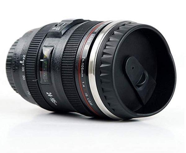 Camera Lens Travel Thermos Coffee Mug #giftideas #giftsforhim