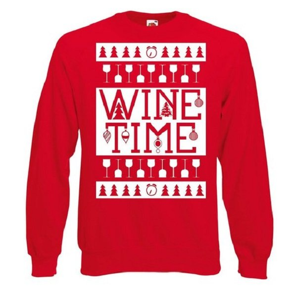 Funny Wine Time Christmas Sweater