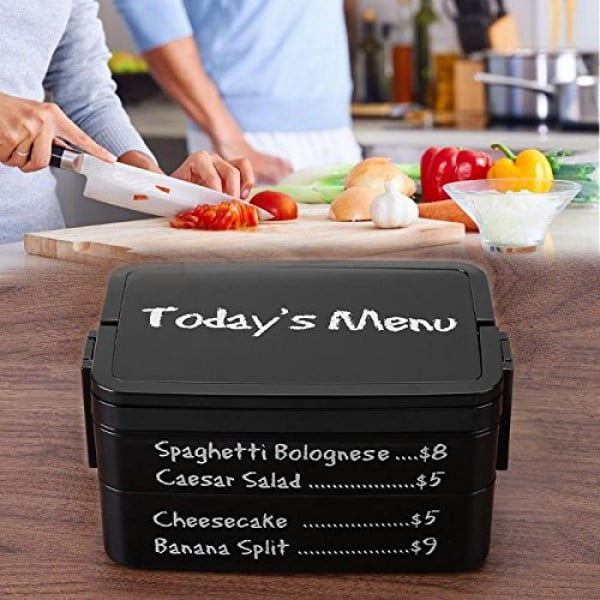 1900ml Double Layer Microwave Lunch Box Leakproof Letter Printed Novelty Black Food Storage Plastic Container Tableware Supply #lunchbox #gifts #giftideas