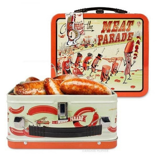 Archie McPhee Accoutrements Meat Parade Metal Lunch Box #lunchbox #gifts #giftideas