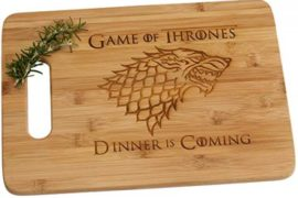 Game of Thrones Dinner is Coming Laser Engraved Bamboo Wood Cutting Board with Handle Funny Gift House Stark #gameofthrones #gifts #giftideas