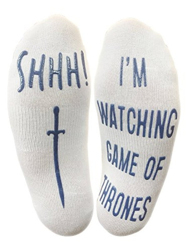 """Shhh I'm Watching Game Of Thrones"" Funny Socks #gameofthrones #gifts #giftideas"