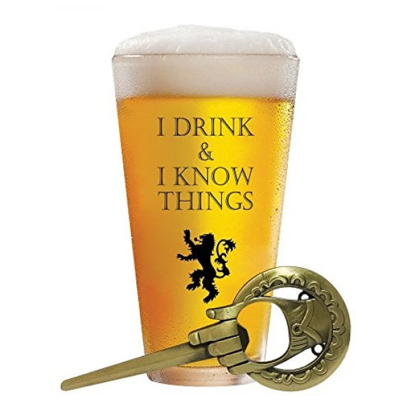 I Drink and I Know Things 17 oz Beer Glass + FREE Hand Of The King Bottle Opener Made In Casterly Rock – Game Of Thrones Inspired – Funny Novelty Gift #gameofthrones #gifts #giftideas
