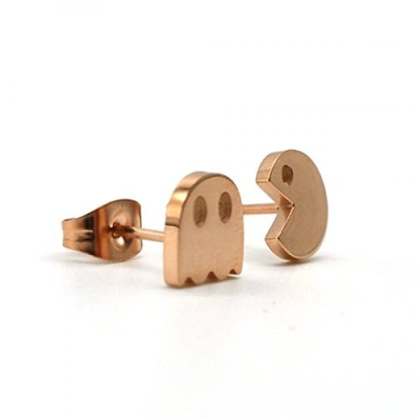 Rose Gold Tone Stud Earring, A Pair Stainless Steel Pacman 8mm Stud Earrings Pacman RG #pacman #jewelry #giftideas