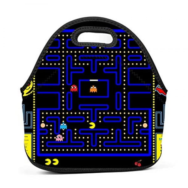 deborah saddsdr R-PAC MAN Game Insulated Neoprene Lunch Bag Lunch Box Print Lunch Tote Bag For School Office Picnic #pacman #geek #giftideas #gifts