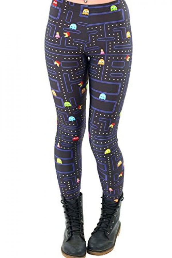 Maxi Womens Pac-Man Cartoon Game 3D Print Design Comfy Funny Ankle Leggings #pacman #geek #giftideas #gifts