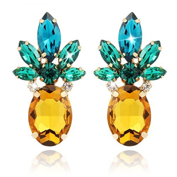 Holylove Vibrant Color Pineapple Earrings Jewelry with Crystal & Glass Beads for Beach Wedding Party Outfits with Gift Box #pineapple #gifts #giftideas