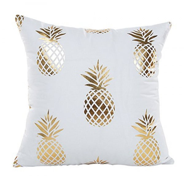 "MHB Gold Foil Pineapple Throw Pillow Case Cushion Cover 18"" x 18"" #pineapple #gifts #giftideas"