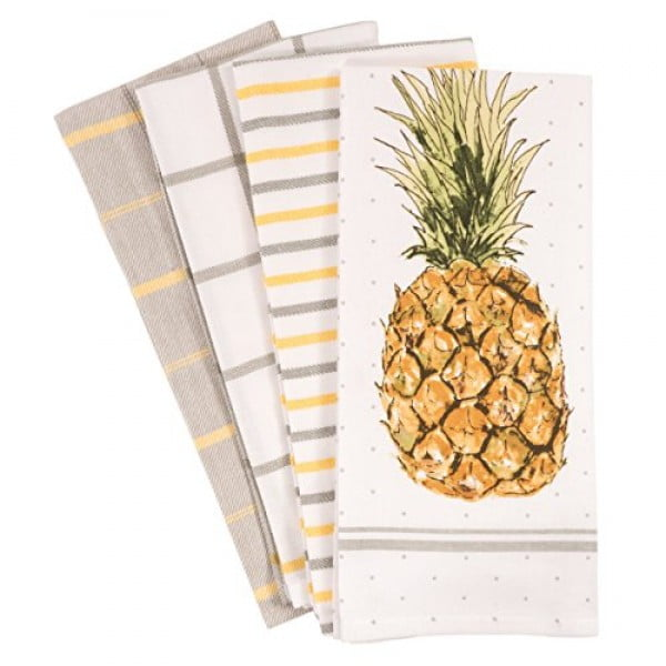 Pantry Pineapple Kitchen Dish Towel Set of 4, 100-Percent Cotton, 18 x 28-inch #pineapple #gifts #giftideas