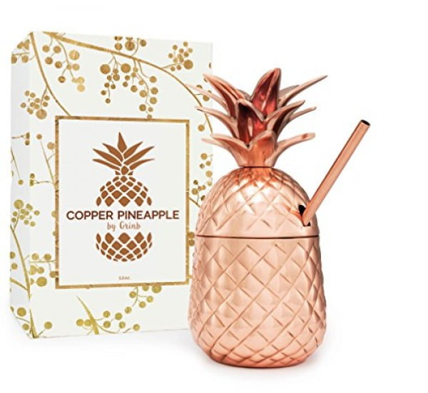 Solid Copper Pineapple Tumbler / Mug with Copper Straw- Available in 3 Sizes (12oz,18oz,24oz)- Handcrafted Drinking Mugs Unique Christmas/ Anniversary/ Birthday Gift Idea #pineapple #gifts #giftideas
