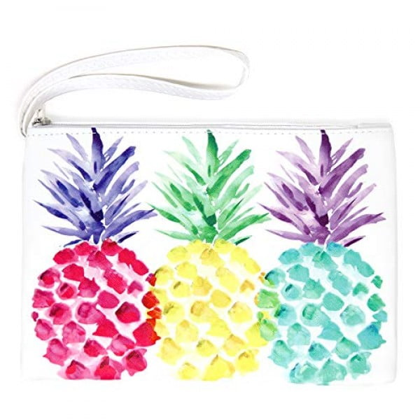 "Me Plus Pu Leather ""Pineapple"" Print Travel Organizer, Cosmetic Makeup Storage Pouch ,Students BTS Organization Bag (Pineapple) #pineapple #gifts #giftideas"