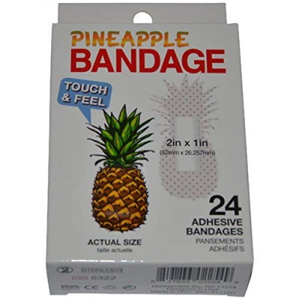 BioSwiss Novelty Bandages Self-Adhesive Funny First Aid, Novelty Gag Gift (24pc) (Pineapple) #pineapple #gifts #giftideas
