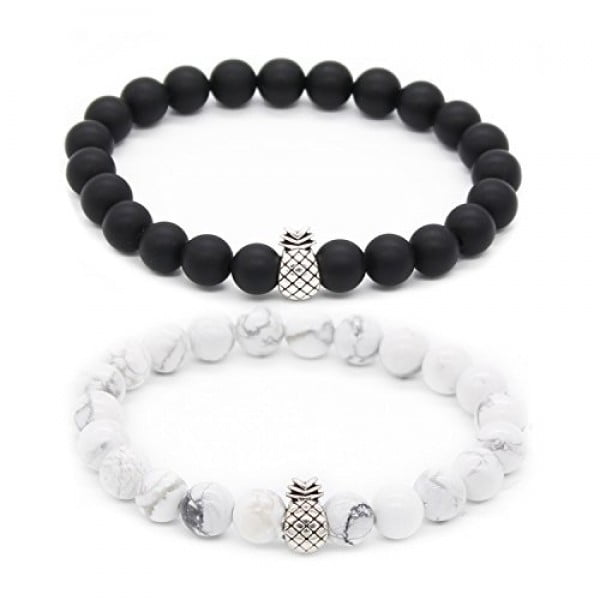 "POSHFEEL Pineapple Charm Bracelets for Lovers Couple Black Matte Agate & White Howlite 8mm Beads Bracelet, 7.6""+7.2"" Black&White #pineapple #gifts #giftideas"