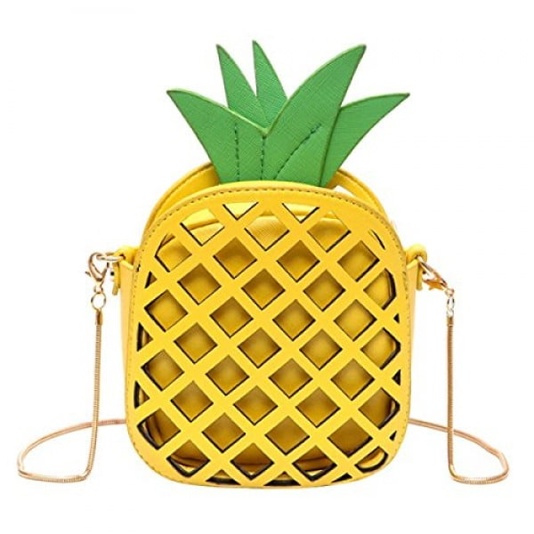 Kukoo Girl Leather Cross Body Bag Pineapple Shaped Creative Single Shoulder Bag Fashion Bag #pineapple #gifts #giftideas