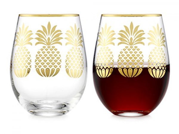 Elegant Home Personalized Gift Set of Two 19 Oz. Stemless Wine Glass #pineapple #gifts #giftideas
