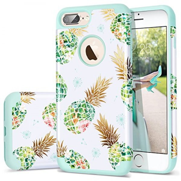 Fingic Pineapple Case for iPhone 7 Plus,iPhone 8 Plus Case,Shiny Pineapple&Fresh Green Silicone Design Summer Case 2 in1 Hybrid Skin Cover Compatible for iPhone 7 Plus/8 Plus (Green) #pineapple #gifts #giftideas