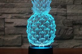 Pineapple 3D Illusion Lamp LED Pineapple Ananas Night Light for Living Bed Room Decoration USB Operated 7 Changing Colors Desk Table Lamp Light for Party Supplies Birthday Gift for Kid #pineapple #gifts #giftideas