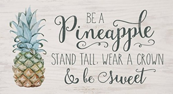 P. GRAHAM DUNN Pineapple Wear Crown Be Sweet Whitewash 10 x 5.5 Solid Wood Plank Wall Plaque Sign #pineapple #gifts #giftideas