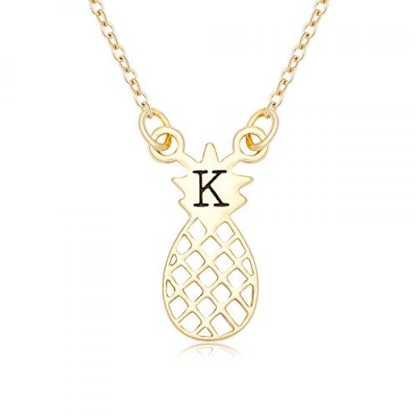 NOUMANDA Shiny Zircon 26 Alphabet English Letters Golden Pineapple Initial Disc Charms Necklace (K) #pineapple #gifts #giftideas