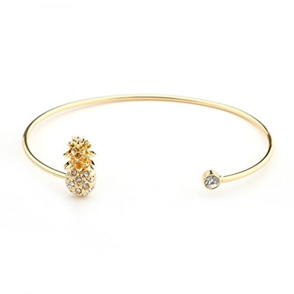 Hanloud Elegant Crystal Pineapple Bracelet Fruit Adjustable Cuff Bangle Bracelet for Women #pineapple #gifts #giftideas