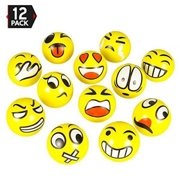 "3"" Party Pack Emoji Stress Balls Stress Reliver Party Favors, Toy Balls, Party Toys (12 Pack) #giftideas #gifts #stressrelief #toys"