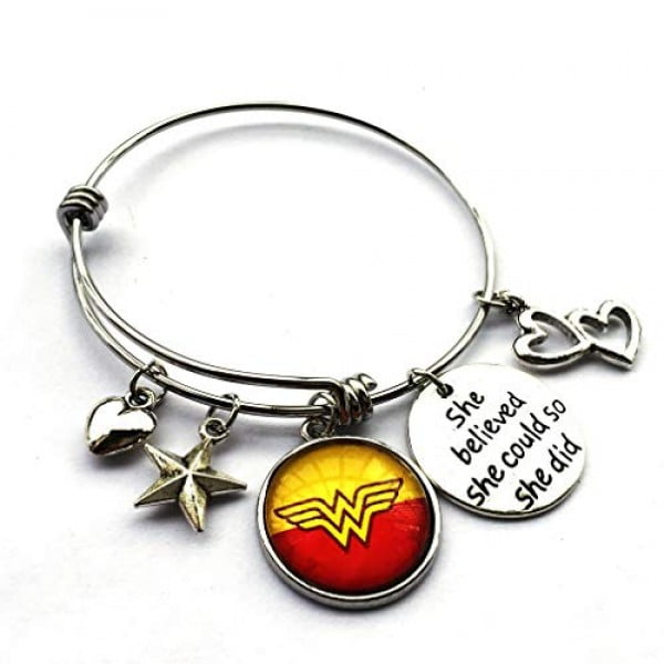 DOLON She Believed She Could So She Did Inspirational Expandable Bracelet Gift for Wonder Woman Fans #wonderwoman #geek #comics #gifts #giftideas