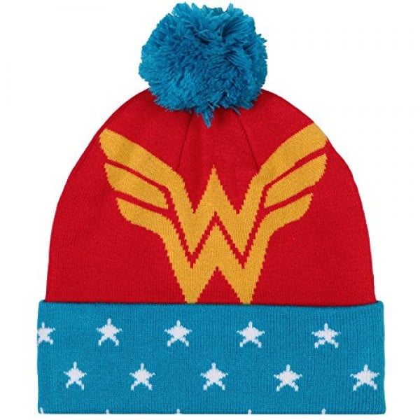 DC Comics Wonder Woman Pom Beanie, Red/Blue, One Size #wonderwoman #geek #comics #gifts #giftideas