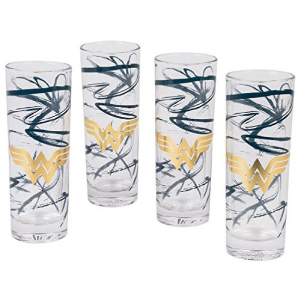 DC Wonder Woman Highball Glasses, Set of 4 #wonderwoman #geek #comics #gifts #giftideas
