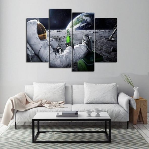 Beer Drinking Astronaut Canvas Set, Man Cave Space Print Gift for Him Home Decor Art Earth View Funny Micro Beer Lover Picture Gift for Dad #beer #posters #gifts #giftideas #coolstuff