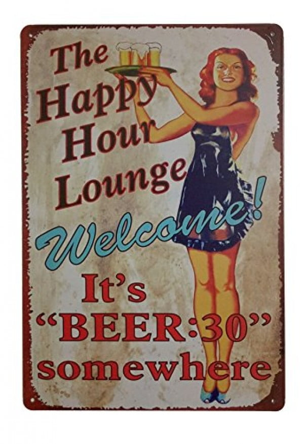 ERLOOD The Happy Hour Lounge Welcome! It's Beer Retro Vintage Decor Metal Tin Sign 12 X 8 Inches #beer #posters #gifts #giftideas #coolstuff