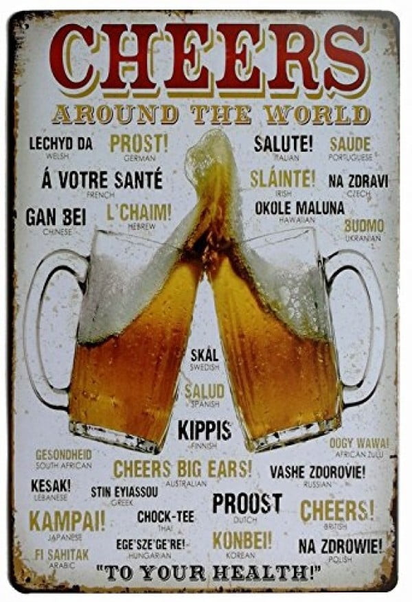 ERLOOD Cheers Around The World Drinking Distressed Retro Vintage Tin Sign 8 x 12 #beer #posters #gifts #giftideas #coolstuff