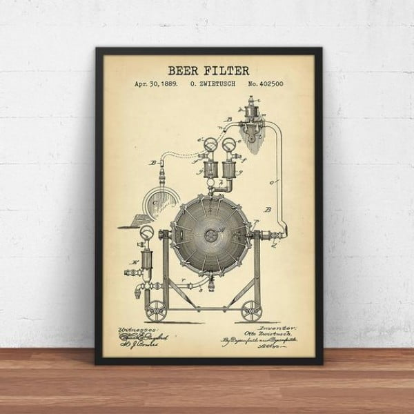 Brewery Decor, Beer Gifts, Beer Filter Blueprint Art, Instant Download, Beer Patent Prints, Beer Poster Printable, Beer Brewing Wall Art #beer #posters #gifts #giftideas #coolstuff