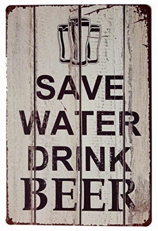 ERLOOD Save Water Drink Beer Tin Signs Vintage Retro Wall Retro Metal Bar Pub Poster #beer #posters #gifts #giftideas #coolstuff
