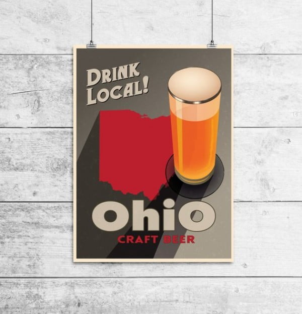 Ohio Beer Print Map #beer #posters #gifts #giftideas #coolstuff