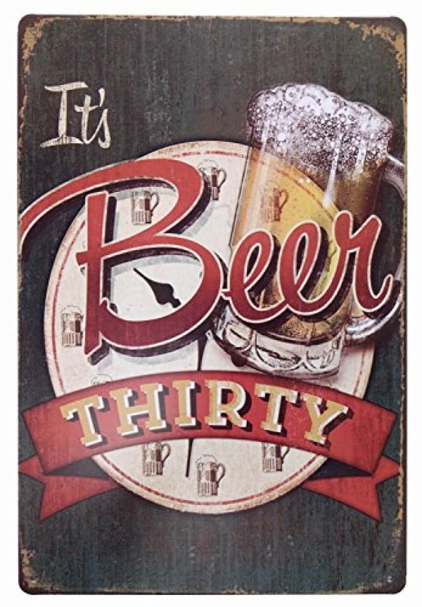 ERLOOD It's Beer Thirty Vintage Funny Home Decor Tin Sign Retro Metal Bar Pub Poster 8 x 12 #beer #posters #gifts #giftideas #coolstuff