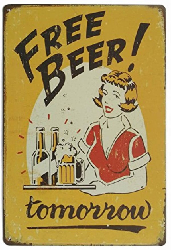 ERLOOD Free Beer Tomorrow Vintage Funny Home Decor Tin Sign Retro Metal Bar Pub Poster 8 x 12 #coolstuff #beer #posters #gifts #giftideas #forhim