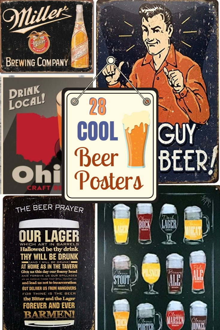 The coolest beer posters for the man cave or a gift for him. Great ideas! #gifts #giftideas #beer #posters