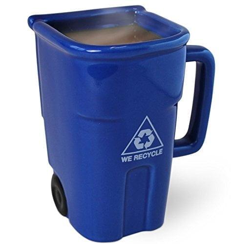 Bigmouththe Recycling Bin Mug, Fun Blue Ceramic