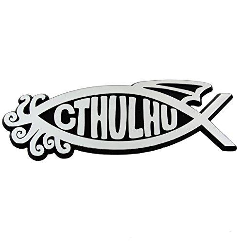 Cthulhu Fish Plastic Auto Emblem - [silver][5