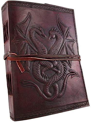 Double Dragon Blank Page Book Handcrafted Leather