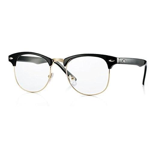 Fake Nerd Glasses Semi-rimless Frame Horn Rimmed