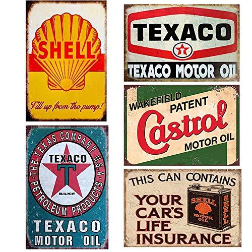 Flowerbeads 5pcs Gas Motor Oil Antique Tin Signs,